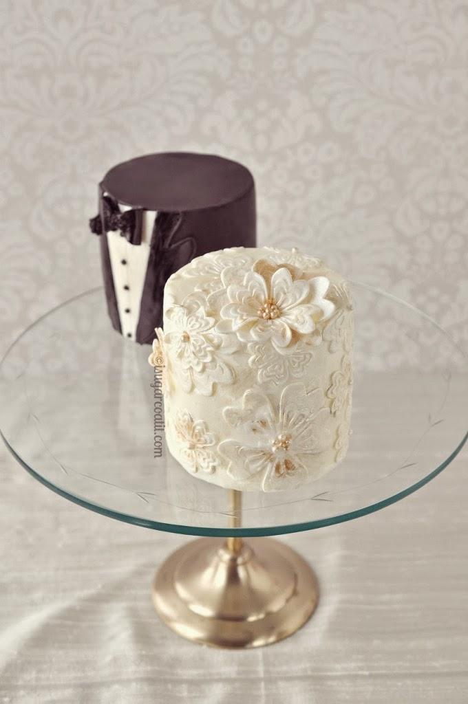 Mini wedding dress cakes pictures