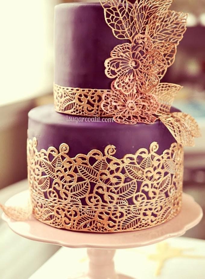 Sugar Lace Engagement Cake