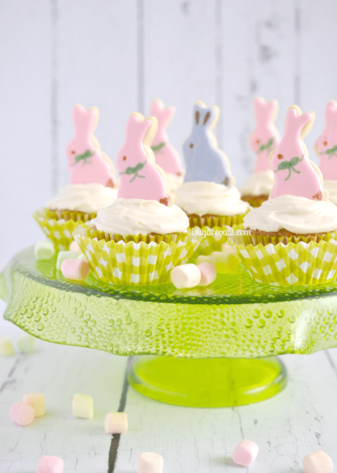 Easter Carrot Cupcakes With Bunny Cookie Toppers