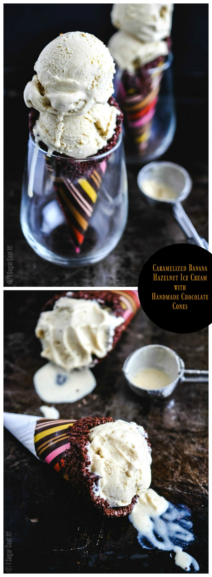 Rich, creamy, banana ice cream with roasted hazelnuts, stuffed in handmade chocolate cones make these Caramelized Banana Hazelnut Ice Cream Chocolate Cones a summer must!