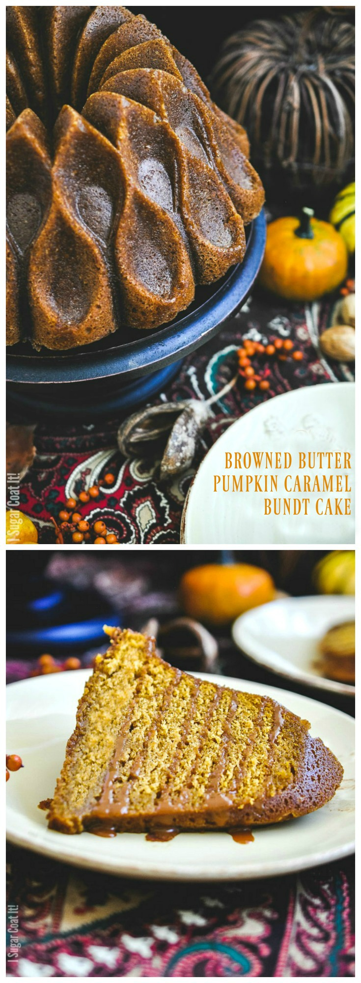 Lightly spiced, with a tender crumb and caramel drizzle, this Browned Butter Pumpkin Caramel Bundt Cake is bursting with the flavours of fall. A perfect addition to your Thanksgiving table!