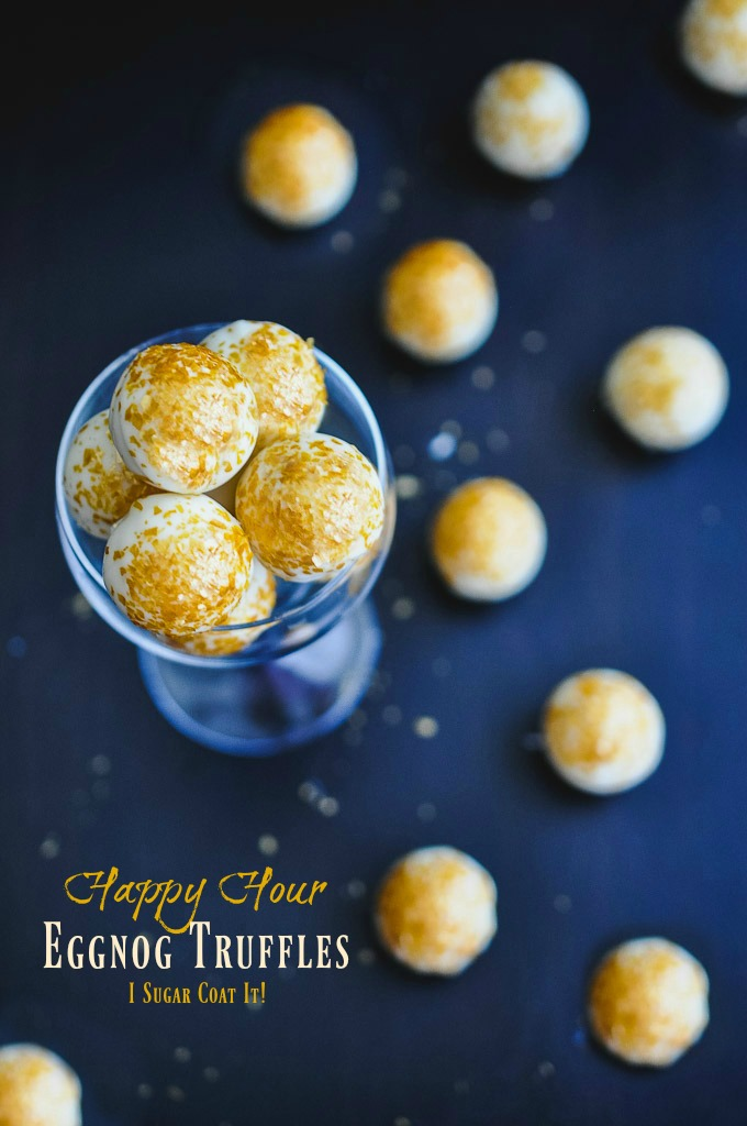 Happy Hour Eggnog Truffles - I Sugar Coat It! Decadent, silky balls of white chocolate eggnog ganache, spices and bourbon.