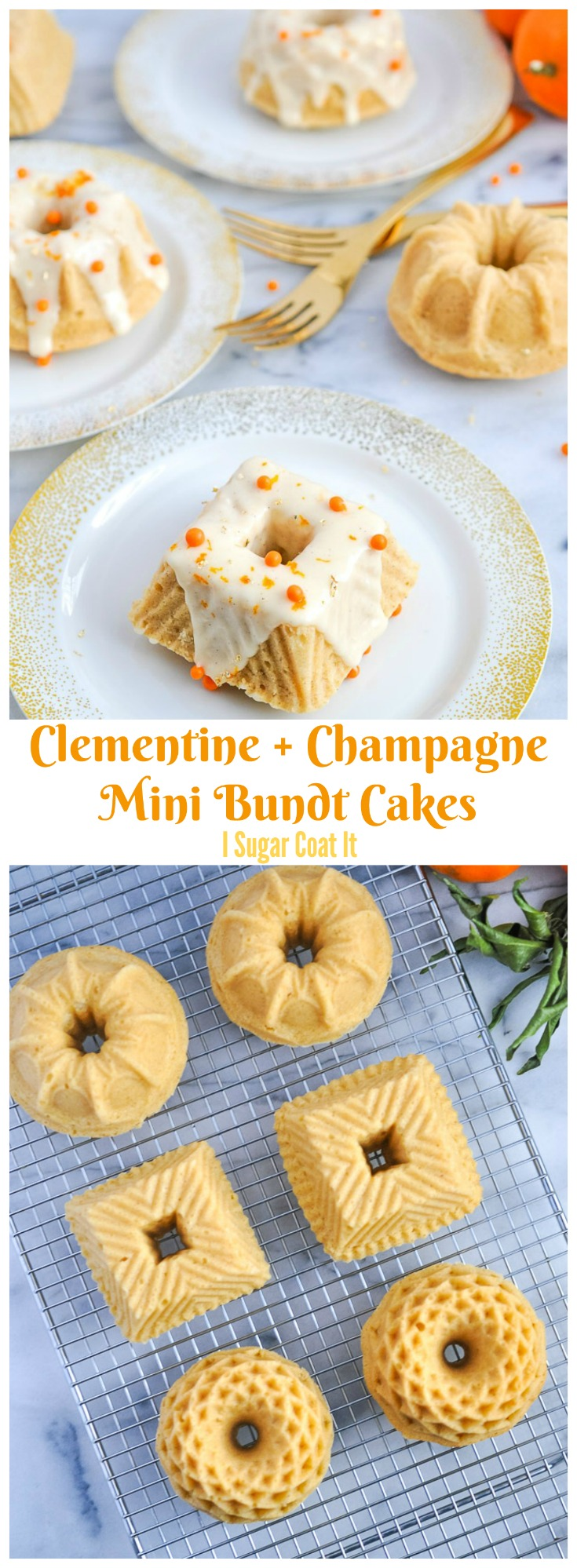 Filled with citrus, vanilla and a little bubbly, these Clementine Champagne Mini Bundt Cakes are akin to a mimosa.