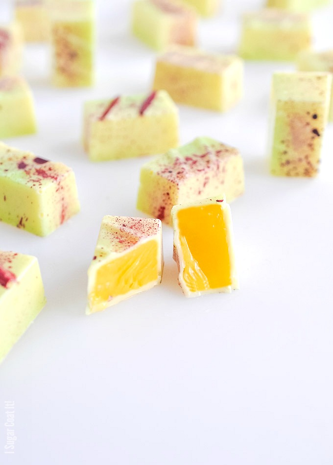 Two faves from my childhood, Mango Passion Fruit Bonbons, paired with coconut rum and a delicate white chocolate provide a tropical escape in each bite.