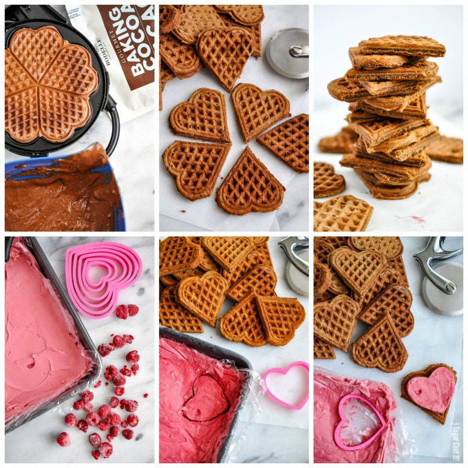 These Chocolate Raspberry Waffle Ice Cream Sandwiches deliver breakfast and dessert sandwiched between the sweetest of hearts!
