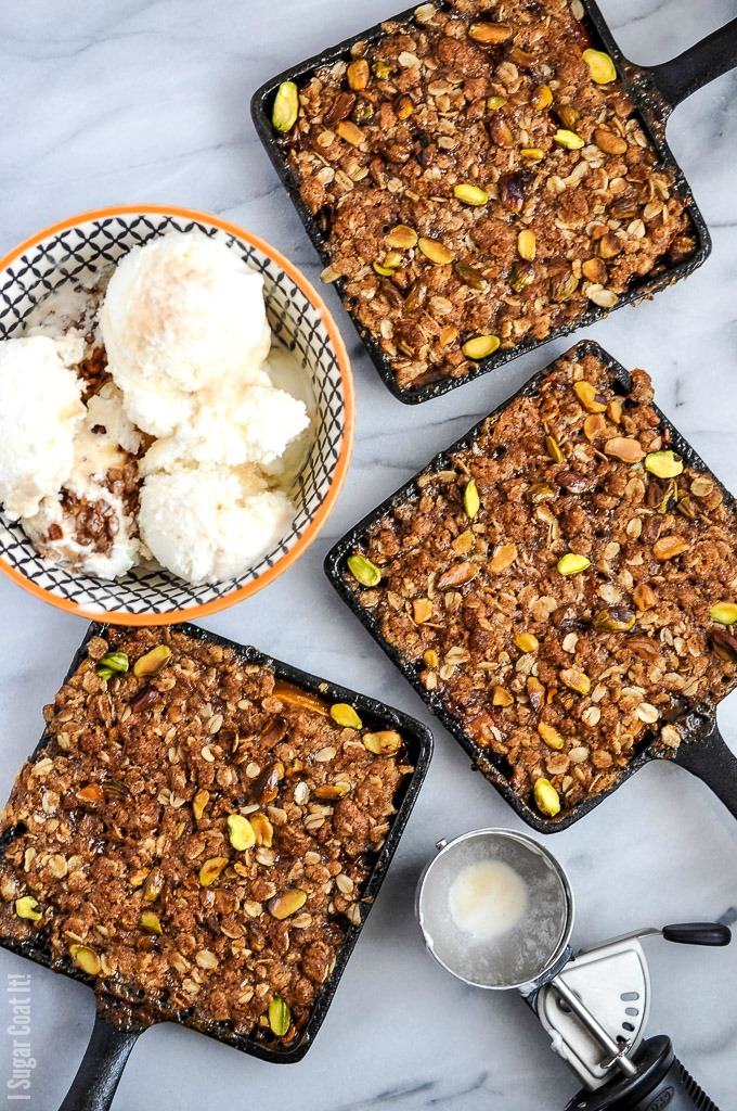 Celebrate stone fruit season with Pistachio Peach Kamut Crumble - a layer of juicy, fresh, maple soaked peaches topped with a super crunchy, nutty crumble!