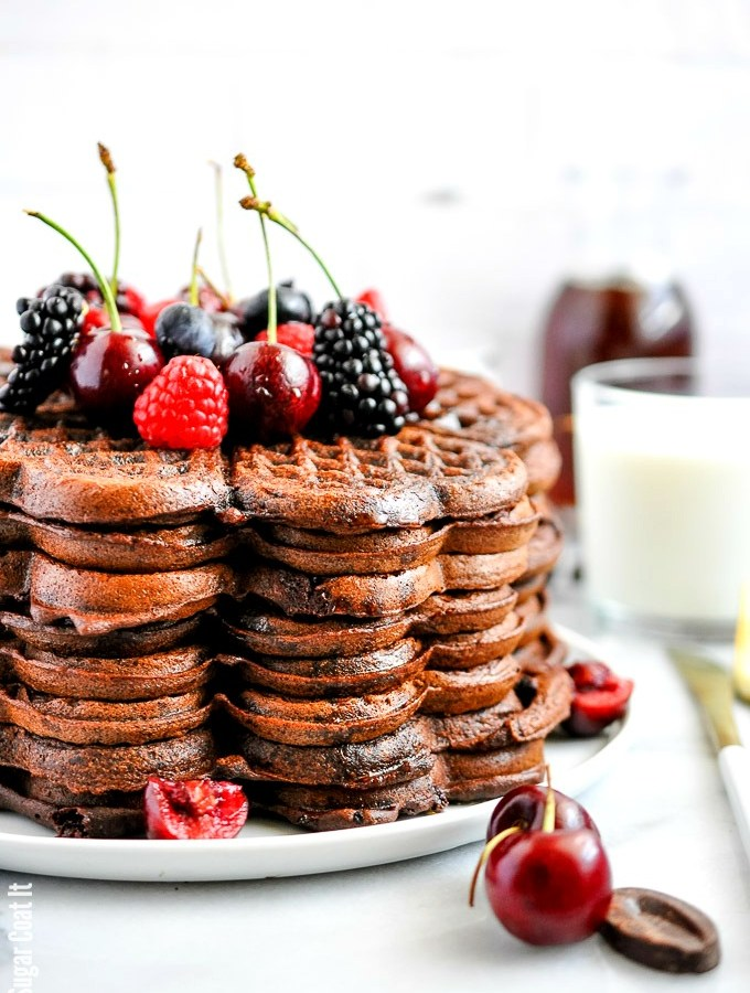Decadent Dark Chocolate Cherry Buckwheat Waffles packed with cocoa, bittersweet chocolate, fresh cherries and homemade buckwheat flour.