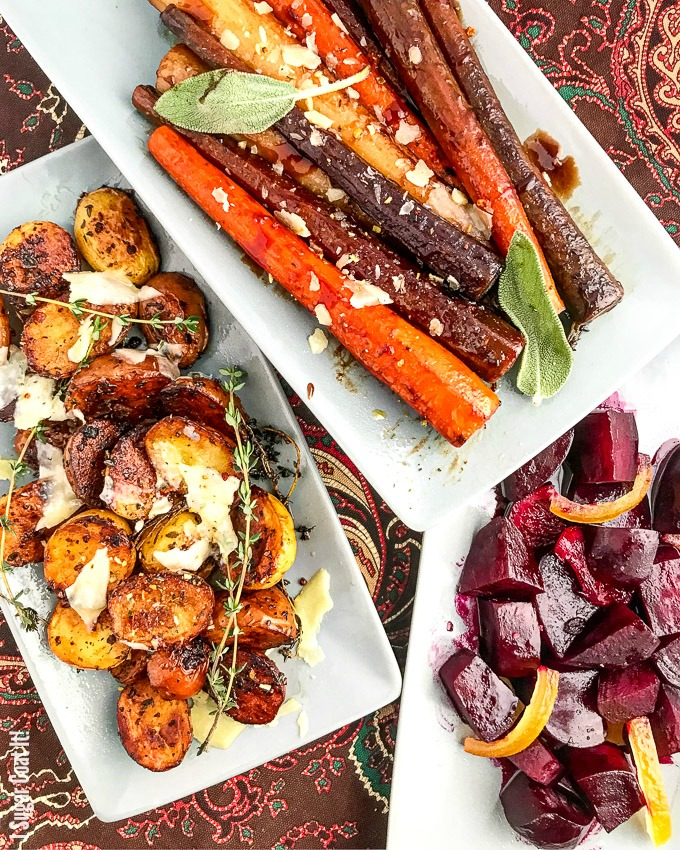 These 3 Simple Sous Vide Vegetable Side Dishes, featuring beets, carrots and potatoes, add a touch of fall flavour and colour to your Thanksgiving dinner table.