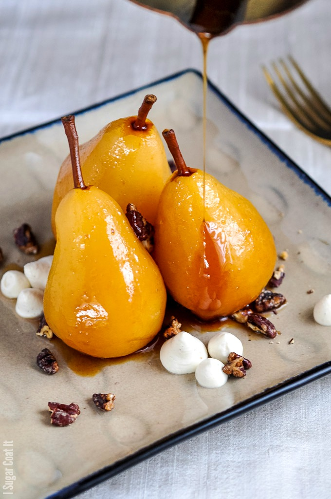 Cooked to perfection, these Sous Vide Marsala Poached Pears make a delightful treat, paired with spiced pecans and mascarpone cream.