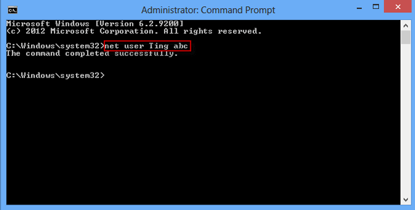 Run Net User command
