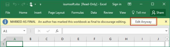 excel file read only when emailed