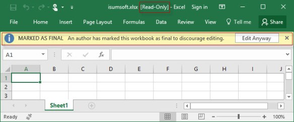 how to make a spreadsheet in excel read only
