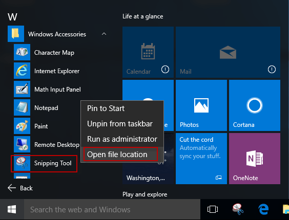 snipping tool windows 10 shortcut