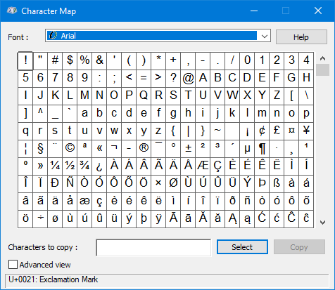 Character Map Windows on