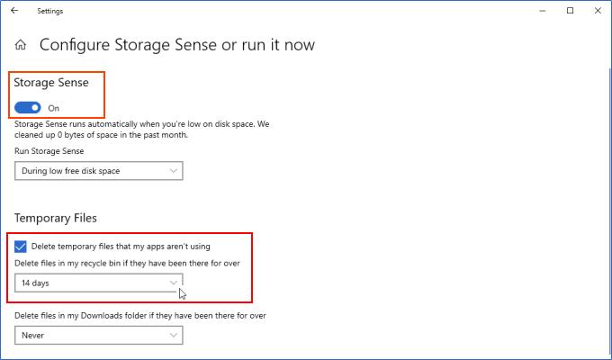 Configurar Storage Sense