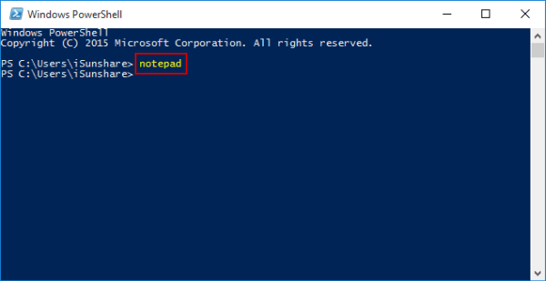 open-notepad-via-windows-powershell