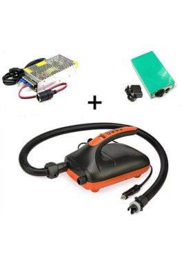 nalu elektrische pomp voor supboard met 12 volt en homeplug en powerbank
