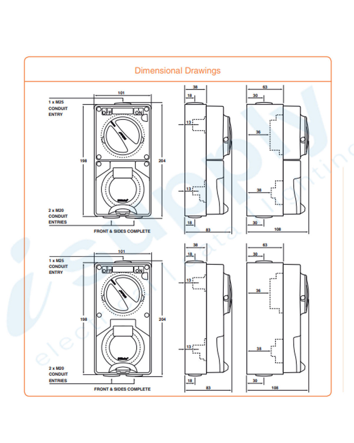 hight resolution of pulset single phase 3 flat pin combo switch socket 10a ip co1ph10