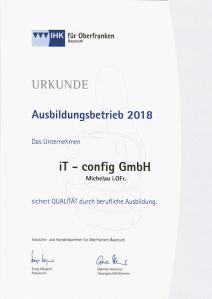 Das Unternehmen iT-config GmbH Michelau i.OFr. sichert QUALITÄT durch berufliche Ausbildung