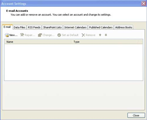 New email Microsoft Outlook 2007