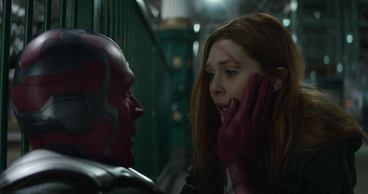 The relationship between Vision (Paul Bettany) and Scarlet Witch (Elizabeth Olsen) is the heart of Infinity War.