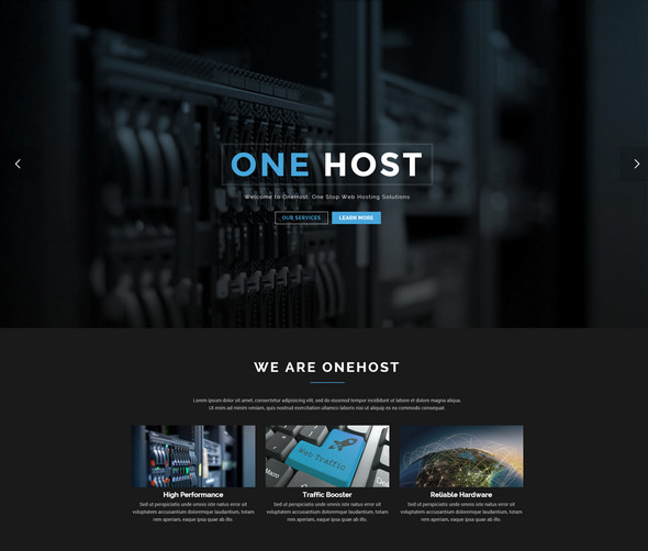 onepage hosting template for wordpress
