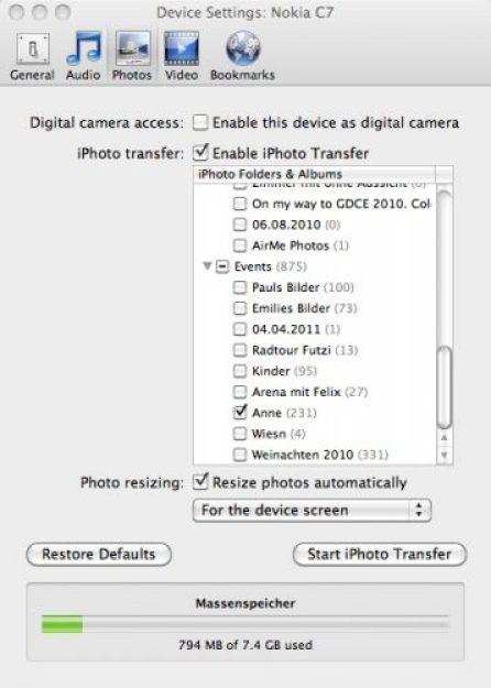 Mit Nokia Transfertool lassen sich die Bilder vor dem Syncen in das passenden Bildformat umwandeln