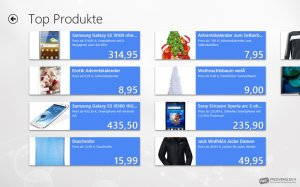Per Fingertipp auf eine der Kategoriebezeichnungen bringt weitere Produkte zum Vorschein