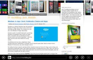 Mit der horizontalen Wischbewegung lässt sich beispielsweise im Internet Explorer vor- und zurückblättern