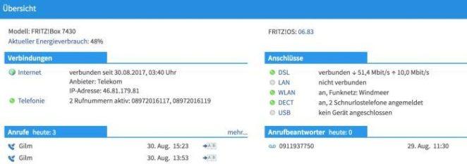 Fritzbox-Bedieneroberfläche