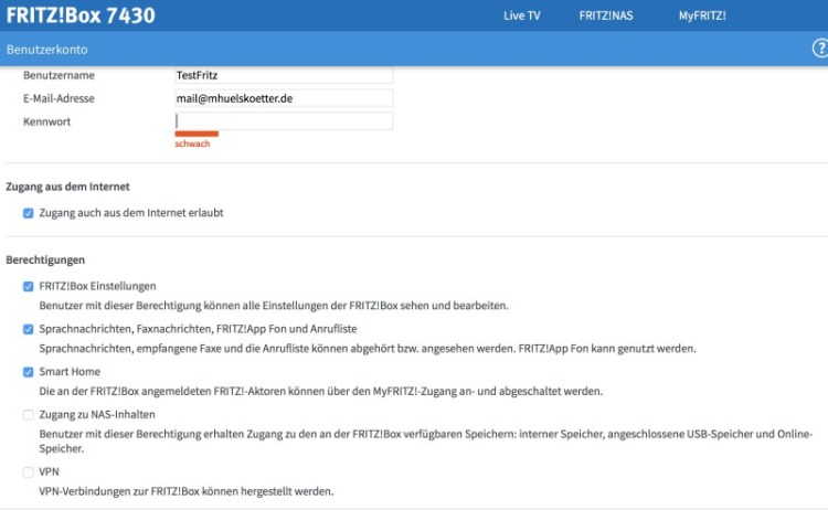 Fritzbox-Benutzer anlegen