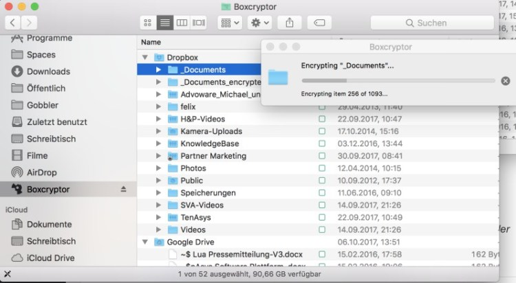 Beim ersten Einrichten von Boxcryptor kann man entweder einzelne Dateien verschlüsseln oder am besten gleich komplette Ordner