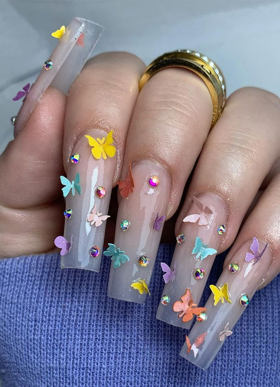 These Will Be The Most Popular Nail Art Designs Of 2021 Colourful 3d Butterfly Ombre Nails