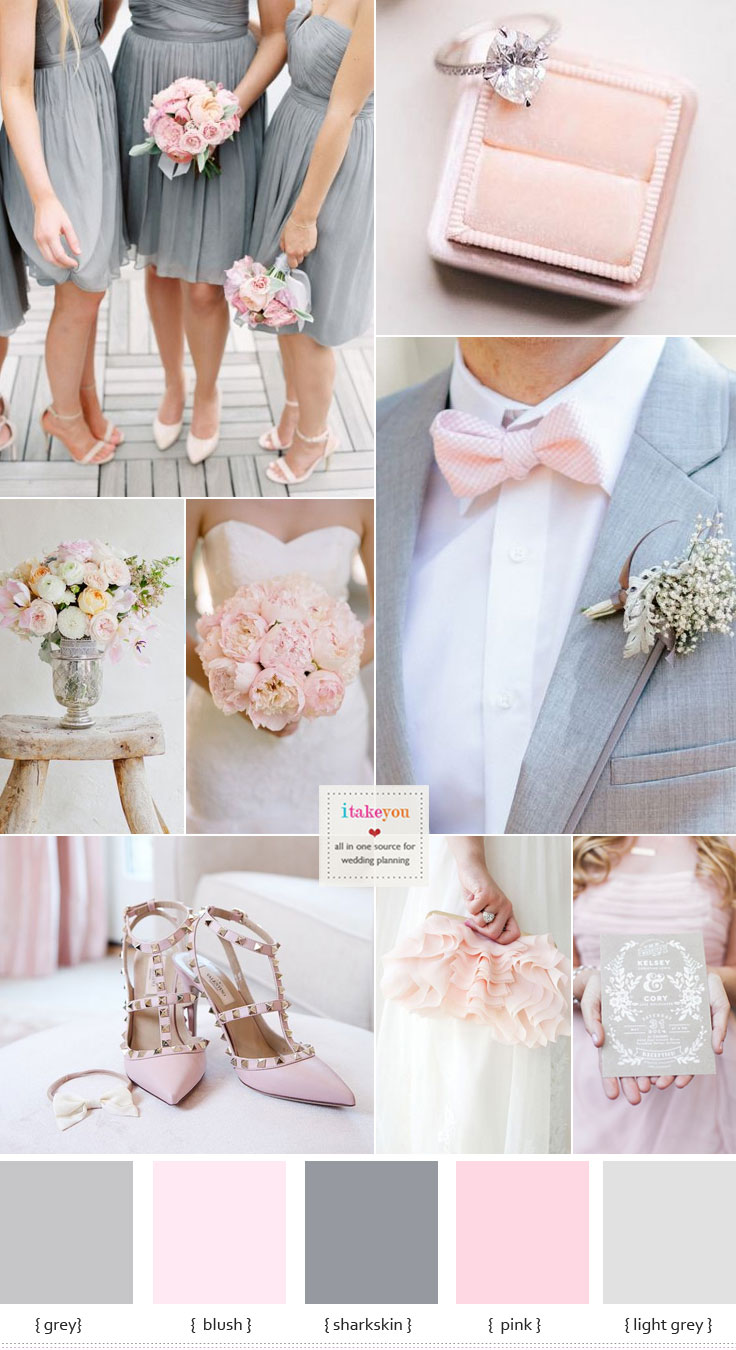 Grey and Pink wedding colour schemes  blush wedding colours