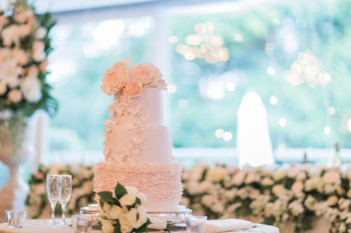 Blush wedding cake for a Beautiful simple + elegant outdoor wedding under the Chateau in the garden   itakeyou.co.uk - garden wedding ,outdoor wedding ,blush wedding