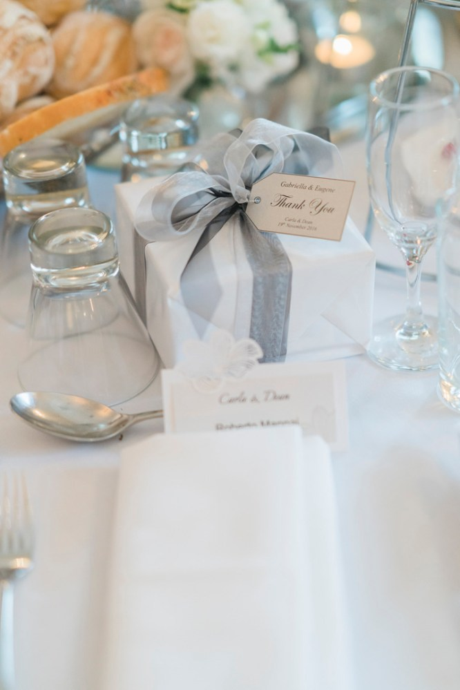 Wedding Favor wrapped with grey ribbon | Beautiful simple + elegant outdoor wedding under the Chateau in the garden | itakeyou.co.uk - garden wedding ,outdoor wedding ,blush wedding