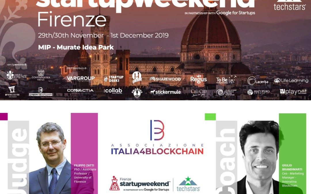 29 Novembre – 1 Dicembre Italia4Blockchain partner di Startup Weekend Firenze