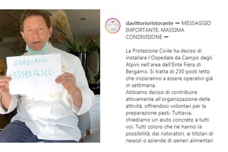 Il messaggio per l'ospedale da campo di Bergamo - Chicco Cerea ospite a Parma Altro gesto di solidarietà bergamasca