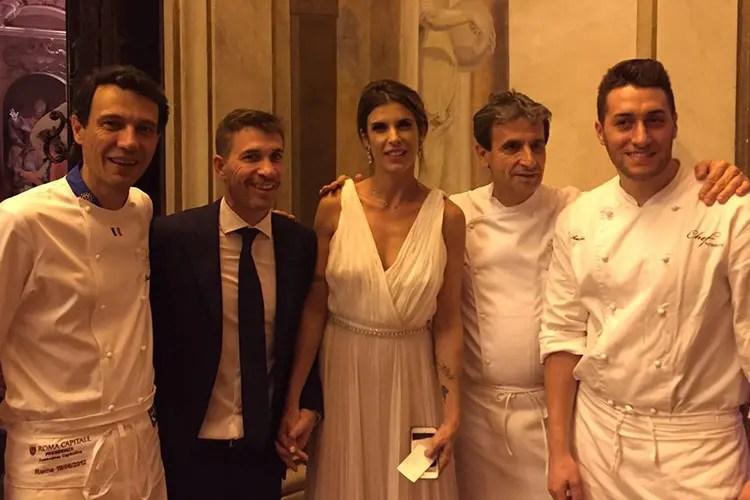 Claudio Ceriotti, Brian Perri (marito di Elisabetta Canalis), Elisabetta Canalis, Sandro Serva e un suo collaboratore