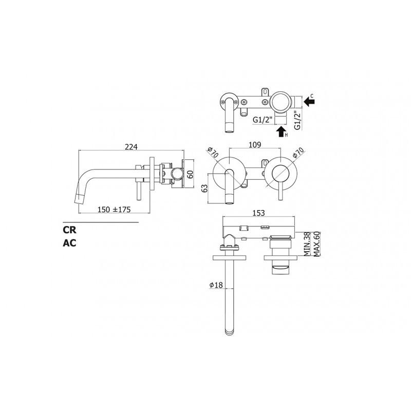 Paffoni  Stick Lavabo Parete SK101CR70 Bidet Incasso Doccia con Deviatore