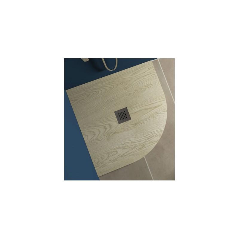 Piatto Doccia in Marmo Resina Effetto Legno Semicircolare 80x80 cm