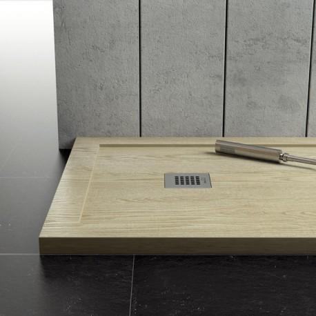 Piatto Doccia in marmo resina con Bordo Effetto Legno