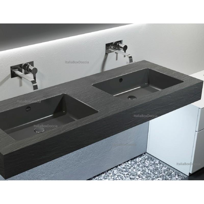 Relax Design  Top con Doppio Lavabo Integrato in Pietra Sintetica