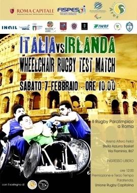 Sabato 7 febbraio Rugby in carrozzina la sfida tra le nazionali di Italia e Irlanda