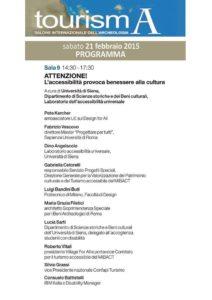 tourisma convegno accessibilità 212x300 - 21 Febbraio Firenze Tourisma 2015 - Convegno Attenzione l'accessibilità provoca benessere alla cultura!