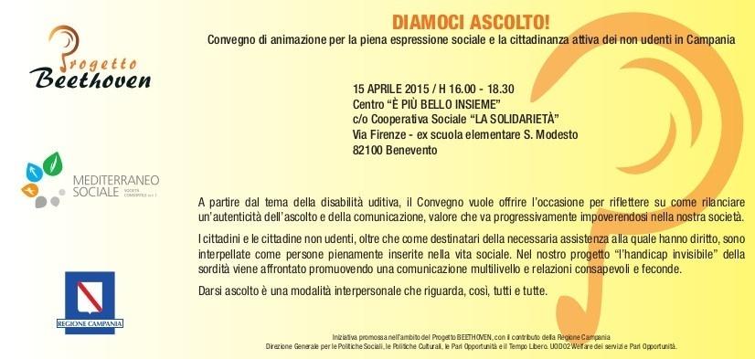 Convegno Progetto BEETHOVEN per non udenti il 15 aprile 2015 a Benevento