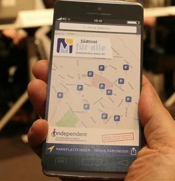 """App """"Trova parcheggi"""" riservati ai disabili a Bolzano"""