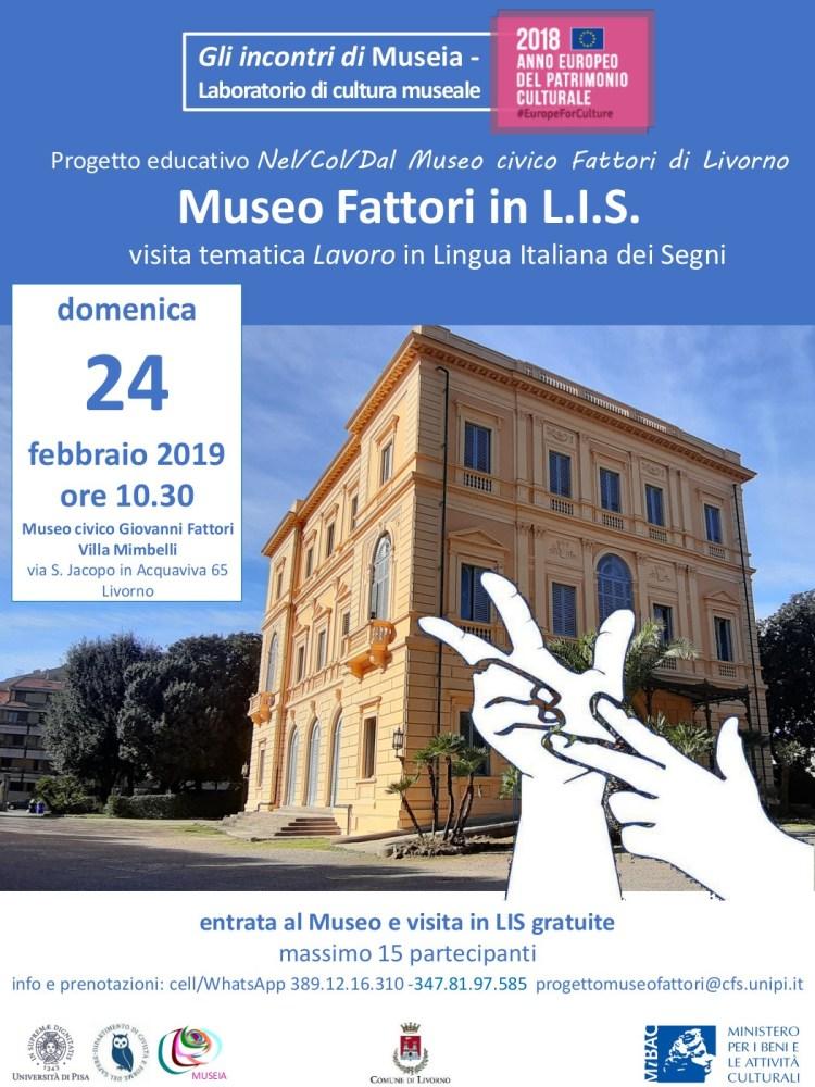 Locandina Museo Fattori in LIS 768x1024 - Nel/Col/Dal Museo Fattori di Livorno in LIS