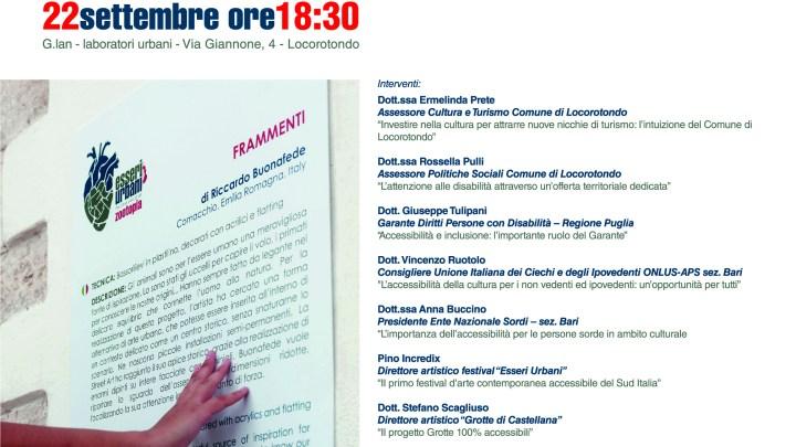 """Esseri Urbani : Convegno """"L'accessibilità degli eventi culturali"""" a Locorotondo (Ba)"""
