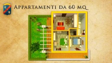Plattegrond van het appartement met 2 slaapkamers